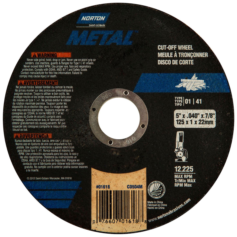 Norton 7660701618 5 x .040 x 7//8-Inch Metal Aluminum Oxide Right Cut Wheel 25pk