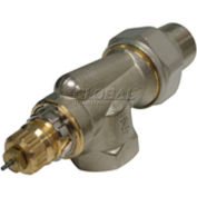 """Radiator or baseboard valve body - 1/2"""" side mount, angle for 2-pipe steam"""