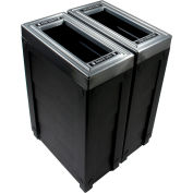 Busch Systems Evolve Double Cube Slim, Cans & Bottles/Waste, 46 Gallon - Black - 101264