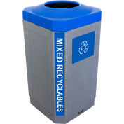 Busch Systems Indoor Octo Container - Mixed Recyclables, 32 Gallon - Graystone/Blue - 104452