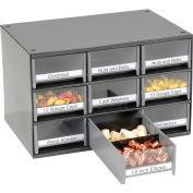 "Akro-Mils Steel Small Parts Storage Cabinet 19909 - 17""W x 11""D x 11""H w/ 9 Gray Drawers"