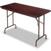 Alera® Laminate Folding Table, Rectangular, 48w x 24d x 29h, Walnut