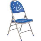 National Public Seating Plastic Folding Chair - Triple Brace - Blue - Pkg Qty 4