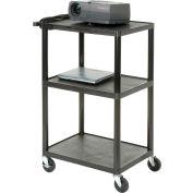 Plastic Audio Visual & Instrument Cart 32 x 24 x 48 Three Shelves
