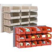 Global Industrial™ Wall Bin Rack Panel 36 x19 - 8 Red 8-1/4x11x7 Stacking Bins