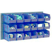 Wall Bin Rack Panel 36 x19 With 8 Blue 8-1/4x11x7 Stacking Bins