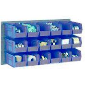 Global Industrial™ Wall Bin Rack Panel 36 x19 - 8 Blue 8-1/4x11x7 Stacking Bins