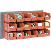 Wall Bin Rack Panel 36 x19 With 18 Red 5-1/2x11x5 Stacking Bins