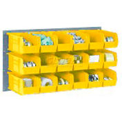 Wall Bin Rack Panel 36 x19 With 8 Yellow 8-1/4x11x7 Stacking Bins