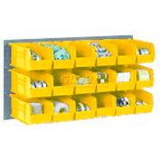 Global Industrial™ Wall Bin Rack Panel 36 x19 - 8 Yellow 8-1/4x11x7 Stacking Bins