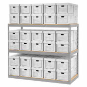 """Global Industrial™ Record Storage Rack With Boxes 72""""W x 30""""D x 60""""H - Gray"""
