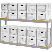 """Global Industrial™ Record Storage With Boxes 72""""W x 15""""D x 36""""H - Gray"""