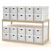 """Global Industrial™ Record Storage Rack With Boxes 72""""W x 36""""D x 36""""H - Tan"""