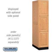 Solid Oak Executive Wood Locker 13164 - Triple Tier 1 Wide, 16x24x24, 3 Door, Light Oak