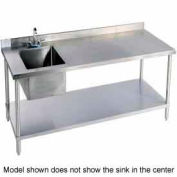 "Aero Manufacturing 2TSB-3096T100 96""W X 30""D 14 Gauge Stainless Workbench w/ Shelf & Left Sink"