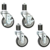 "Aero Manufacturing T/128 4"" Swivel Casters (2 W/ Brakes) For Up to 72"" Workbenches"