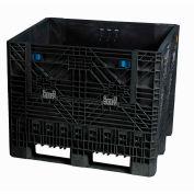 "Monoflo BC3230-34 Folding Bulk Shipping Container - 32""Lx30""Wx 34""H, 1800 Lb. Capacity Black"