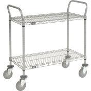 "Nexel® Utility Cart, 2 Shelf, Nexelate® , 42""L x 18""W x 42""H, Pneumatic Casters"