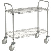 "Nexel® Utility Cart, 2 Shelf, Nexelate® , 48""L x 21""W x 42""H, Pneumatic Casters"