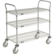"Nexel® Utility Cart, 3 Shelf, Nexelate® , 36""L x 18""W x 42""H, Pneumatic Casters"
