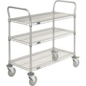 "Nexel® Utility Cart, 3 Shelf, Nexelate® , 42""L x 18""W x 39""H, Polyurethane Brake Casters"
