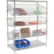 "Adjustable Wire Bin Rack - 48""W x 24""D x 63""H"