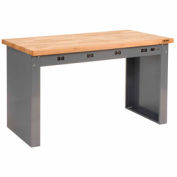 "96""W x 36""D Panel Leg Workbench With Power Apron and Maple Butcher Block Square Edge Top"