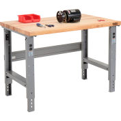 Global Industrial™ 48 x 30 Adjustable Height Workbench C-Channel Leg - Maple Square Edge - Gray