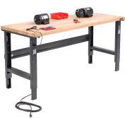 Global Industrial™ 72x30 Adjustable Height Workbench C-Channel Leg - Birch Square Edge - Black
