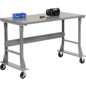 Global Industrial™ 60 x 36 Mobile Fixed Height C-Channel Flared Leg Workbench - Steel - Gray