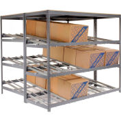 "Global Industrial™ Carton Flow Shelving Double Depth 4 LEVEL 96""W x 96""D x 84""H"