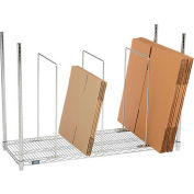 """Global Industrial™ Single Level Carton Stand w/ 3 Dividers, 48""""L x 18""""W x 38-1/2""""H, Chrome"""