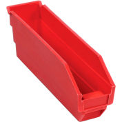"Plastic Nesting Storage Shelf Bin 2-3/4""W x 11-5/8""D x 4""H Red - Pkg Qty 24"