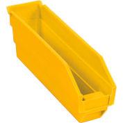 """Plastic Nesting Storage Shelf Bin 2-3/4""""W x 11-5/8""""D x 4""""H Yellow - Pkg Qty 24"""