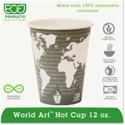 Eco-Products® Hot Paper Cups, World Art, 12 Oz., Plant-Based Resin Inner Lining, 50/Pack, Gray