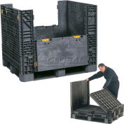 Plastic Folding Bulk Shipping Container BC4845-25BLACK 48x45x25 1500 lb. Capacity