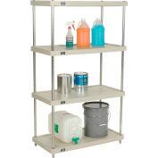 "Nexel® Solid Plastic Shelving Unit - Clear Epoxy Posts - 36""W x 18""D x 63""H - 4 Shelf"