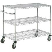 "Nexel® Chrome ESD Adjustable Shelf Cart, 3 Shelf, 48""L x 24""W x 40""H, Polyurethane Casters"