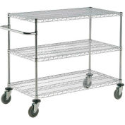 "Nexel® Chrome ESD Adjustable Shelf Cart, 3 Shelf, 48""L x 21""W x 40""H, Polyurethane Casters"