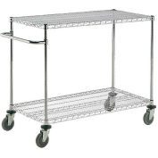 "Nexel® Chrome ESD Adjustable Shelf Cart, 2 Shelf, 48""L x 18""W x 40""H, Polyurethane Casters"
