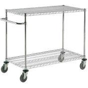 "Nexel® Chrome ESD Adjustable Shelf Cart, 2 Shelf, 72""L x 18""W x 40""H, Polyurethane Casters"