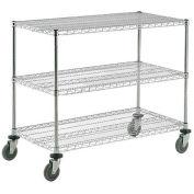 Nexel® Adjustable Chrome Wire Shelf Cart 72x18 3 Shelves 800 Lb. Capacity