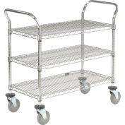 "Nexel® Utility Cart, 3 Shelf, Chrome, 42""L, x 24""W, x 39""H, Polyurethane Brake Casters"