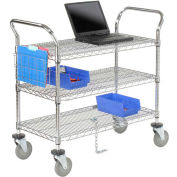 "Nexel® Chrome ESD Utility Cart, 3 Shelf, 54""L x 24""W x 39""H, Polyurethane Casters"