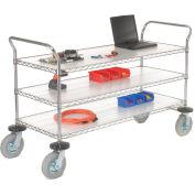 Nexel® Chrome Wire Shelf Instrument Cart 60x24 3 Shelves 1200 Lb. Capacity