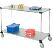 Nexel® Adjustable Solid Galvanized Shelf Cart 60x24 2 Shelves 800 Lb. Cap