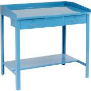 "Pucel Extra-Wide Shop Desk 1248 - 2 Drawers 48""W x 30""D x 43""H Flat Surface - Blue"