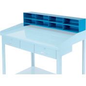 "8 Pigeonhole Compartment Riser for Pucel 48""W Extra-Wide Shop Desk - Blue"