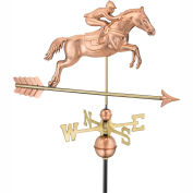 Good Directions Jumping Horse & Rider Weathervane, Polished Copper