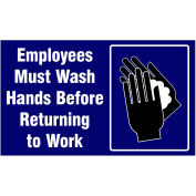 "NoTrax® Employees Must Wash Hands Safety Message Mat 3/8"" Thick 4' x 6' Blue"